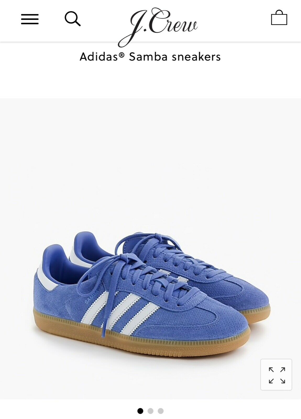 NIB Adidas J Crew Samba Suede Periwinkle Sneakers shoes Size 6.5 NIB  100 J9123