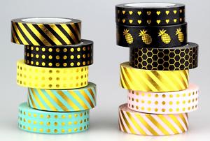 10M Metallic  Washi DIY Tape  Craft Self Adhesive Scrapbook Card Trim Pink Gold