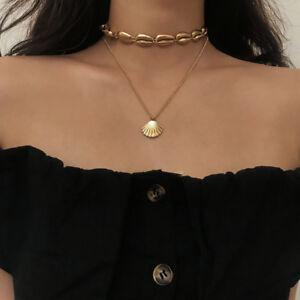 Double-Layer-Boho-Hawaiian-Sea-Shell-Necklace-Choker-Jewelry-6A