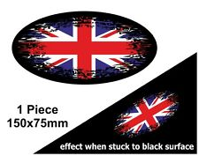 Oval FADE TO BLACK Union Jack British UK Flag vinyl car bike sticker Decal 150mm