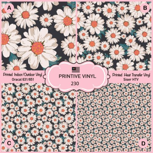 Adhesive Vinyl- 230 Daisy Patterned Iron on Vinyl Printed HTV Blossom Flower