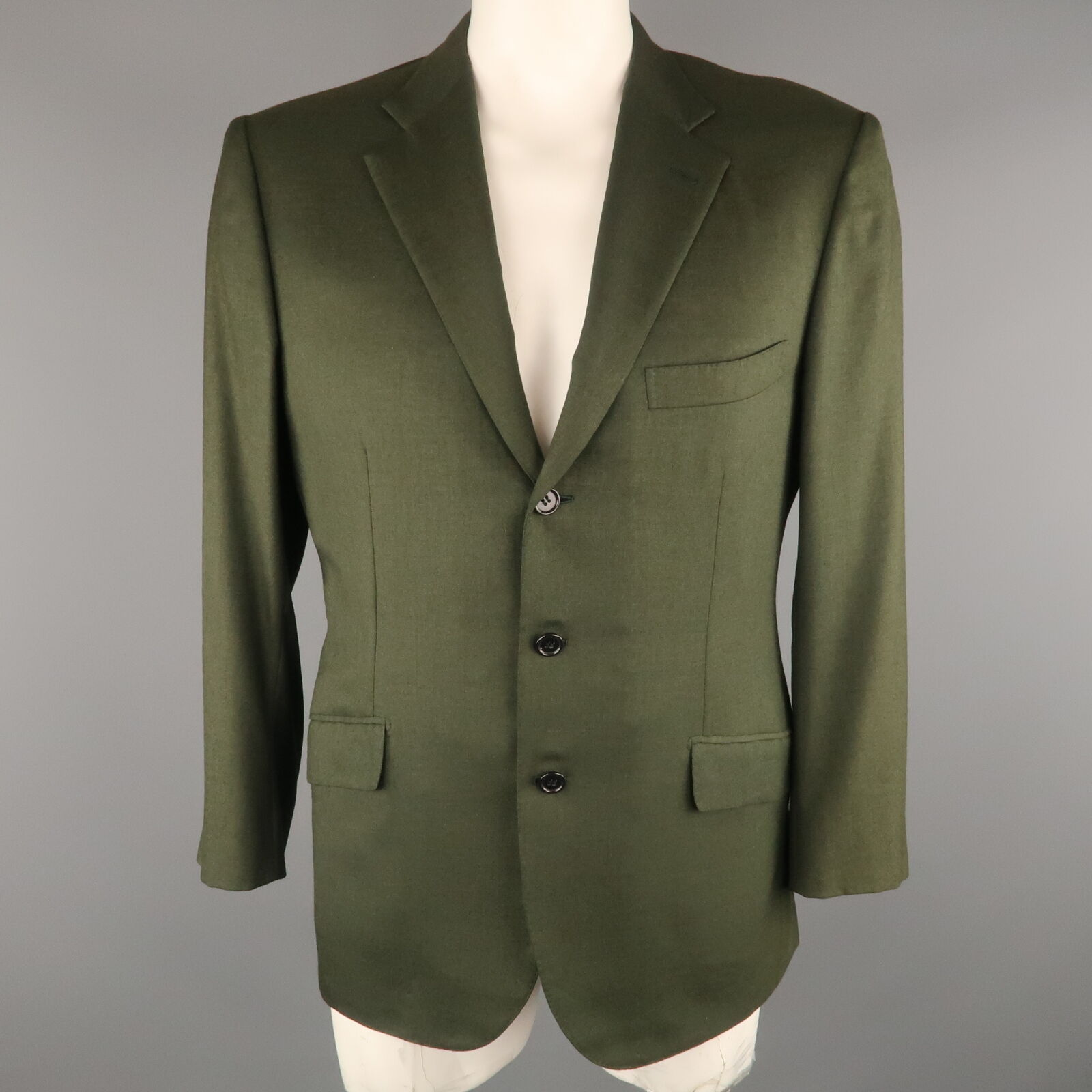 BRIONI 42 Short Olive Cashmere   Silk Notch Lapel  Sport Coat