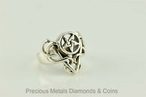 Peter Stone Sterling Silver Gothic Pentagram Celtic Tribal Ring 925 PSCL Sz: 4.5