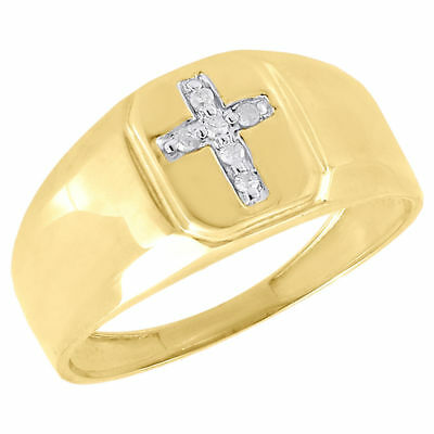10K Yellow Gold Diamond Pinky Ring Square Top Cross Statement Band 0.05  Ct.