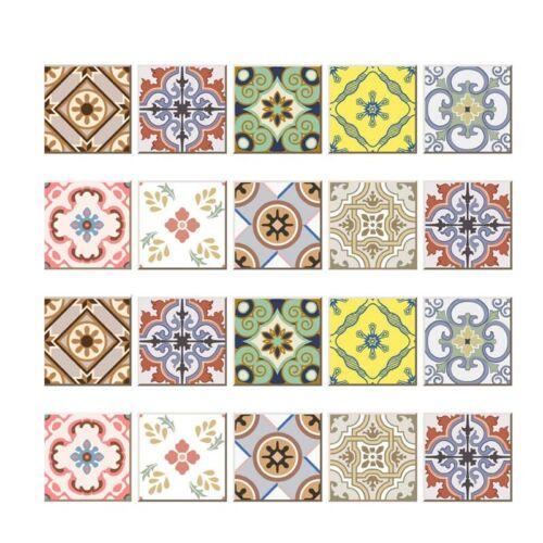 20pcs Retro Mexican Vinyl Wall Tile Sticker Decals Kitchen Bathroom Decorative