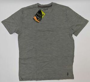 Smartwool-Striped-Pattern-Tee-Men-Size-Large-Silver-Gray-Heather-SW0NP707040-L