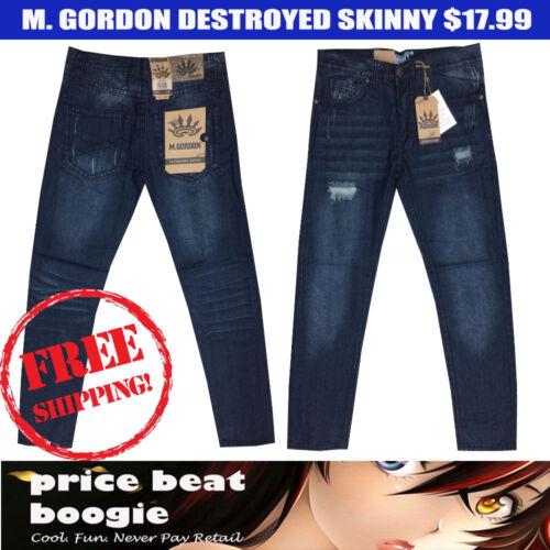 M Gordon NWT Men/'s Destroyed Light Black Wash Skinny Jeans $17.99 Free Shipping