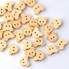 10 Teddy Bear Wooden Buttons Top Quality Cute Teddy Bear Faces Craft Sewing