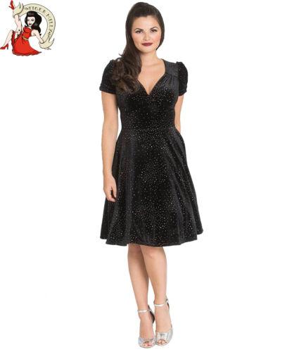 Hell bunny Glitterbelle Kleid Weihnachten samt Party Glitzer Schwarz XS-4XL