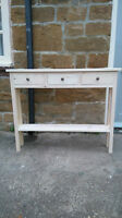 H80 W100 D20cm Bespoke Untreated Console Hall Telephone Table 3 Drawer Chunky