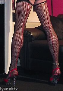 3-Pairs-Black-Red-Contrast-Seam-Fishnet-Large-Stockings-With-Narrow-Wet-Top