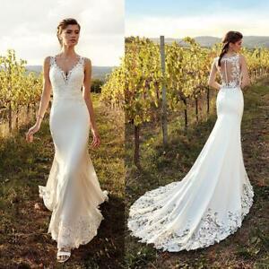 Details about Elegant Wedding Dresses Mermaid V Neck Applique Satin Lace  Custom plus size New