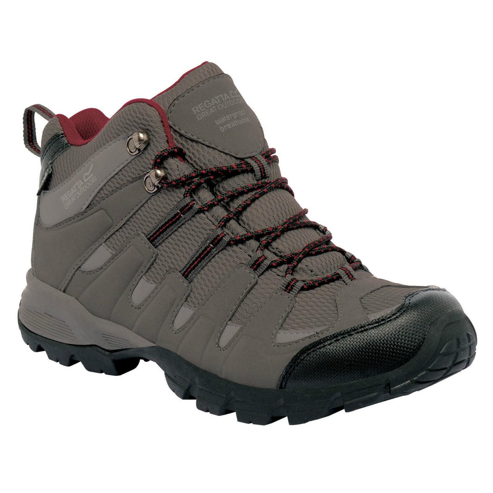 REGATTA MENS GARSDALE MID WALKING TRAIL BOOT CHARCOAL GREY RHUBARB RED RMF340