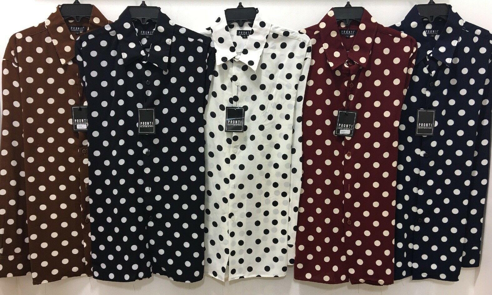 New Pronti Collection Mens Fashion Micro Poker  Polka Dot Long sleeves Shirts