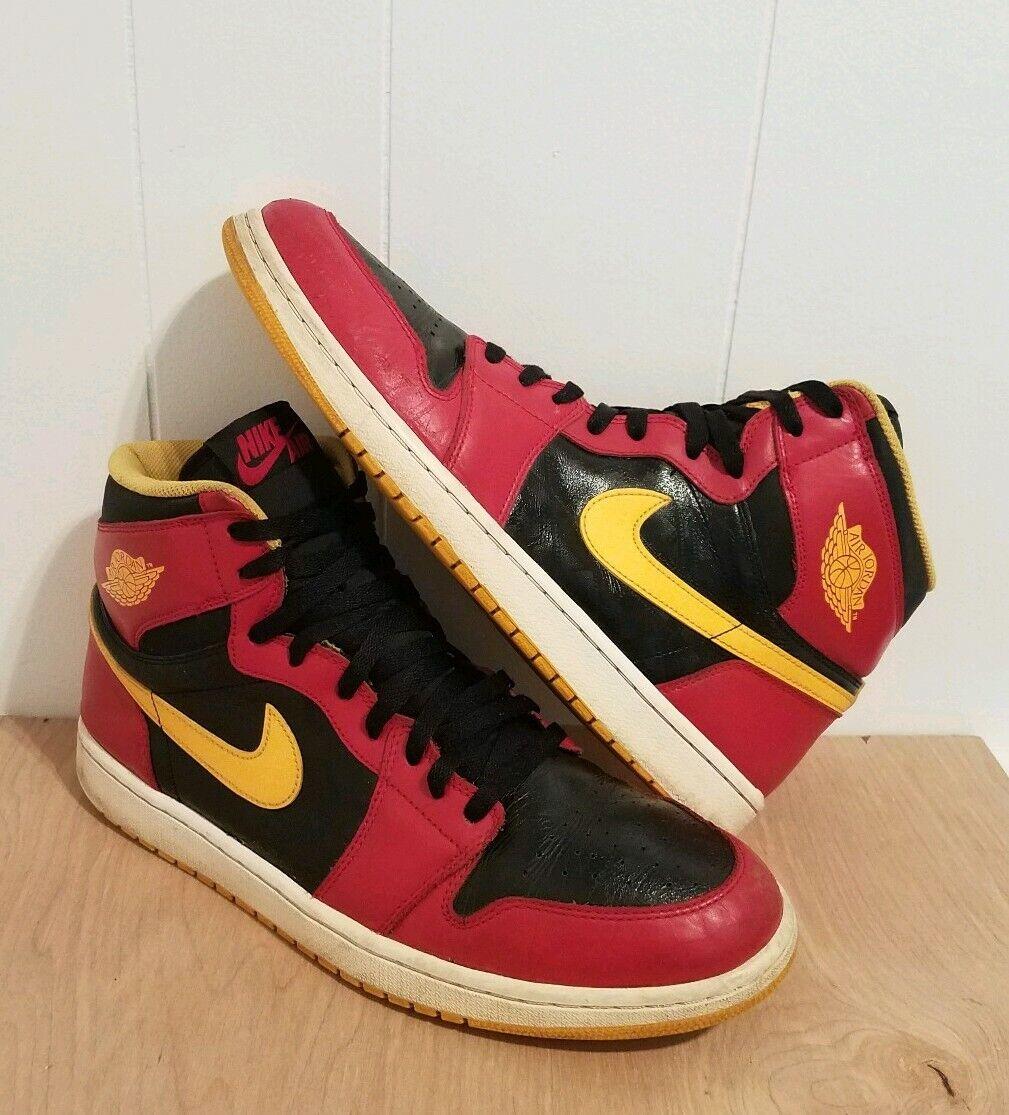 2013 Nike Air Jordan 1 High OG Retro I Atlanta Hawks Bred Banned gold size 13