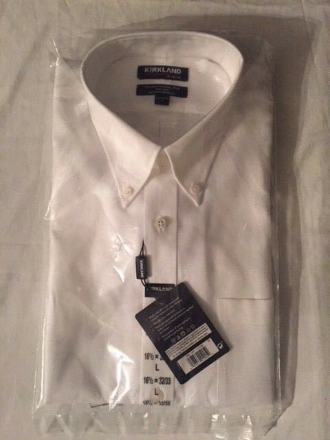 e397e780cb9 Buy Kirkland Signature Button Down Men s Dress Shirts Traditional Fit White  Color 16 1 2 34 35 online