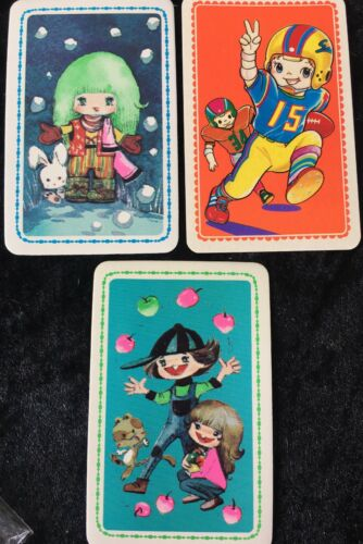 Swap Playing Cards 3 1970's Japanese Cartoon Characters Anime 3//4 A198