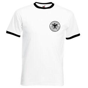 Germany-Retro-World-Cup-1978-Deutscher-Football-Badge-Ringer-T-Shirt-to-3XL