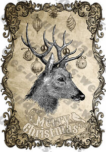 Vintage Bilder Weihnachten.Details Zu Rentier Bügelbild Für Deko T Shirt Din A4 Vintage Weihnachten Elch Deer Neu