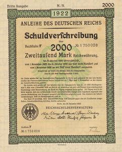 Anleihe-des-Deutfchen-Reichs-1922-German-2-000-marks-bond-certificate