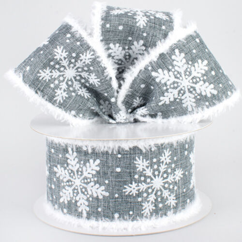 """10 YARD ROLL 1 2.5/"""" GLITTERED SNOWFLAKE DOTS CHENILLE WIRED RIBBON,GRAY"""