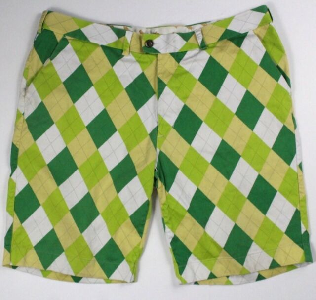 mens green argyle LOUDMOUTH golf shorts chino abstract stretch 42 x 10.5