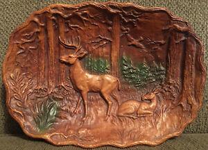 Vintage Multi Prod Inc USA Deer Buck Forest Fawn Faux Wood ...