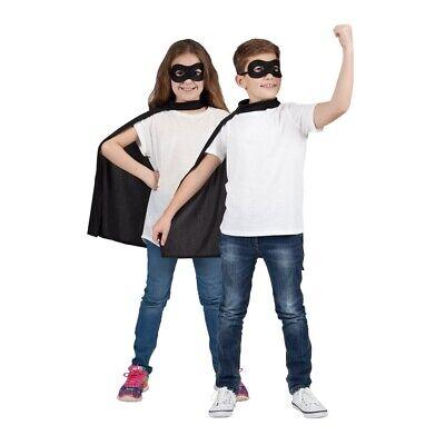 Bambini Super Eroe Nero Mantella & Maschera Costume Da Halloween Book Week