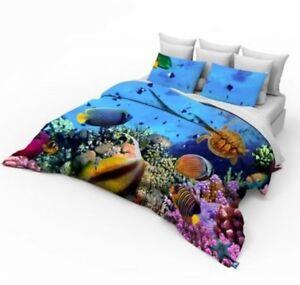 3D-double-taille-de-lit-housse-couette-set-avec-poissons-d-039-aquarium-design-mer-corail