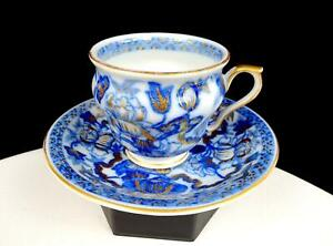 "ASIAN PORCELAIN BLUE WHITE GILT FLORAL 2 3/4"" CUP AND SAUCER SET"