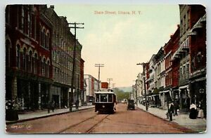 Ithaca-NY-Rothschild-Brush-Music-Conservatory-State-St-Streetcar-Approach-c1910