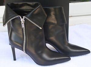 92ba5722 Details about Saint Laurent Paris Foldover Zip Leather Platform Ankle Boot  YSL 37.5 $1199