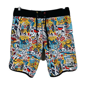 Mambo-Limited-Edition-Board-Shorts-Size-32-Swim-Shorts-Good-Condition