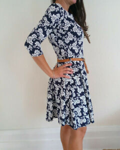 Club-L-Women-039-s-Navy-Floral-Dress-With-Belt-Size-12-Brand-New-With-Tags