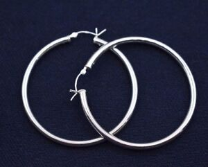 3mmX50mm-2-034-Large-Plain-Polished-Round-Hoop-Earrings-Real-925-Sterling-Silver