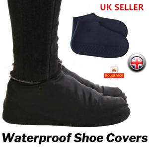 BLACK-Silicone-Shoe-Cover-Rain-Water-Waterproof-Non-Slip-Rubber-Foot-Gum-Boot-UK