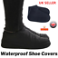 BLACK-Silicone-Shoe-Cover-Rain-Water-Waterproof-Non-Slip-Rubber-Foot-Gum-Boot-UK miniatuur 1
