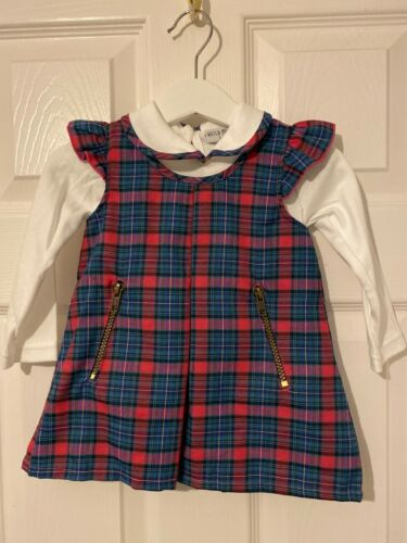 baby girls pinafore dress set age 18 months excellent quality blue and pink