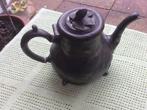 ANTIQUE-ORNATE-PEWTER-TEAPOT-STAMPED-SK-amp-Co-1865-FOLLOWED-BY-A-4