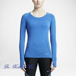 00a15875 Nike Knit Women's Running Top L Blue Gym Casual Training Long Sleeve ...