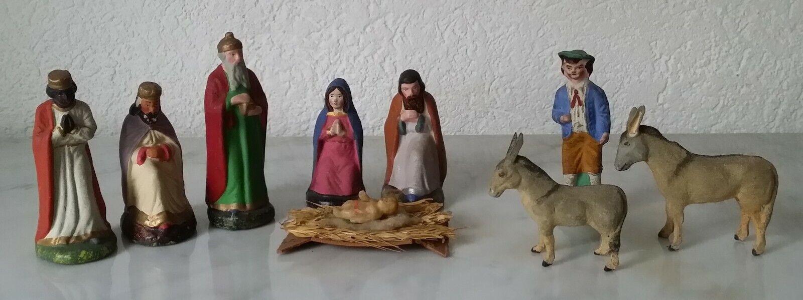 Ältere Krippefiguren Weihnachtskrippe Maria Josef Jesus Schäfer 3 heilige Könige