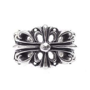 cddb7cffc7e3 Image is loading Authentic-Chrome-Hearts-DOUBLE-FLORAL-CROSS-RING-All-