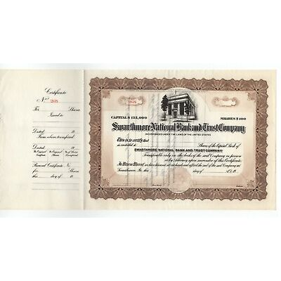 Swarthmore National Bank & Trust Co. Stock Certificate