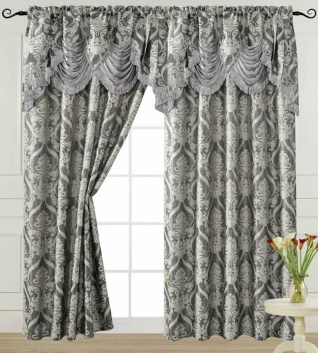 Luxury Jacquard Curtain Panel with Attached Waterfall Valance 54 by 84-Inch