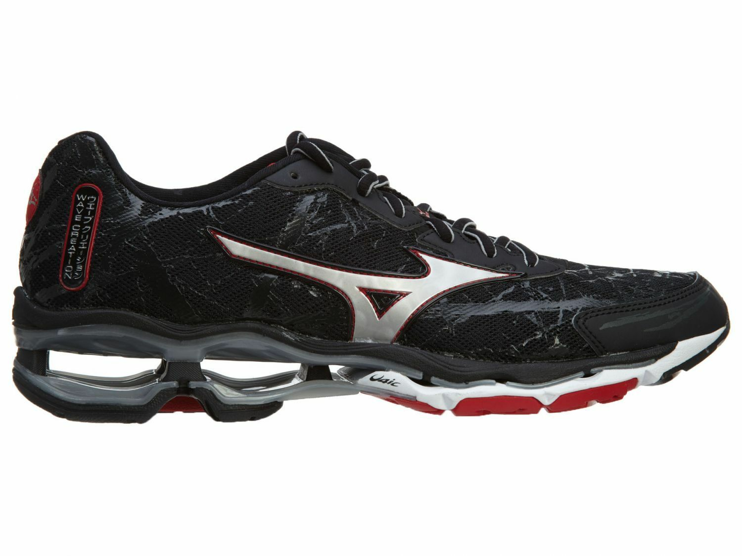 Mizuno Wave Creation 16 Mens 410652-9073 Black Silver Red Running Shoes Size 7.5