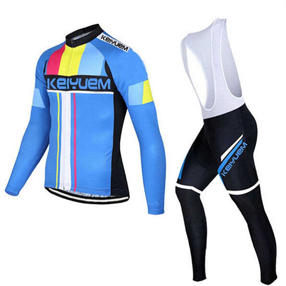 Mens Long Sleeve Cycling Jersey and Bibs Tights Set Winter Cycling Bib Kit S-5XL