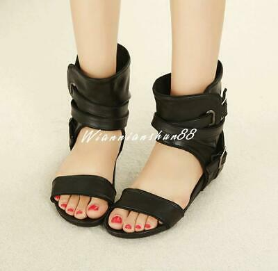 Chic Women Buckle Open Toe Hidden Wedge Summer Ankle Boots Sandals Fashion Shoes