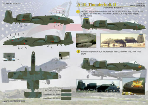 Print Scale 48-073 1//48 Decal for A-10 Thunderbolt Ii Part 2
