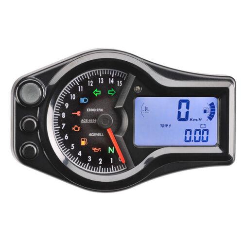 Acewell 6654 Black Digital Speedometer Speedo Analogue Tacho Motorbike Cruiser