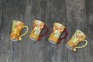 Elizabeth Munro Montage Hand Made Pottery Coffee Cups Set